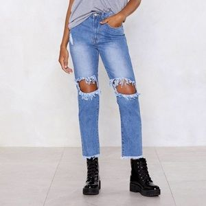 Nasty Gal I Smell Trouble Distressed Jeans